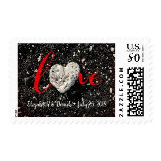 """Love"" Custom Names & Date Beach Coral Heart Photo Postage"