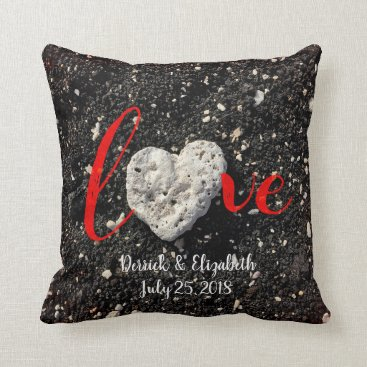"Beach Themed ""Love"" Custom Names & Date Beach Coral Heart Photo Throw Pillow"