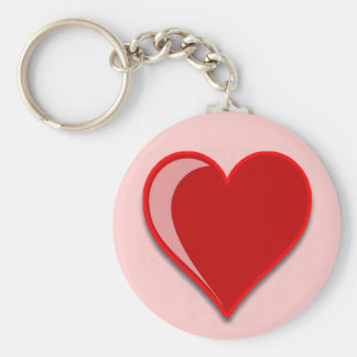 Love - Custom Red Heart Add Your Text Basic Round Button Keychain