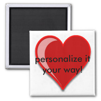 Love - Custom Red Heart Add Your Text 2 Inch Square Magnet