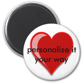 Love - Custom Red Heart Add Your Text 2 Inch Round Magnet