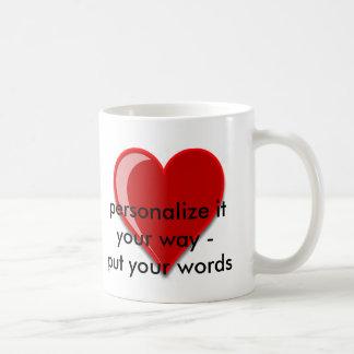 Love - Custom Red Heart Add Your Text Classic White Coffee Mug