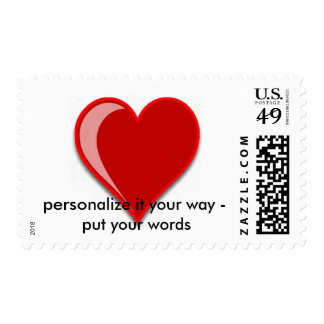 Love - Custom Red Heart Add Your Text Postage