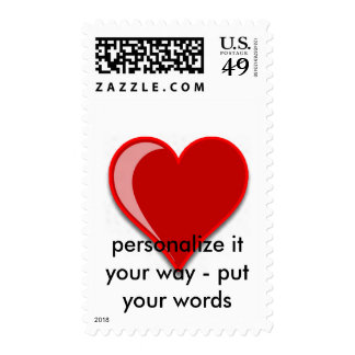 Love - Custom Red Heart Add Your Text Postage Stamp