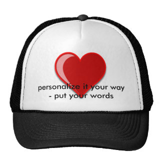 Love - Custom Red Heart Add Your Text Trucker Hat