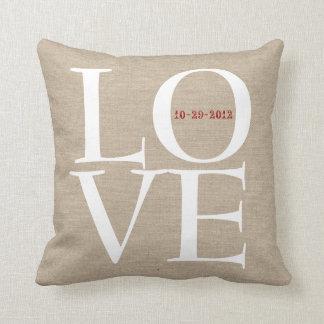 Love custom wedding date faux linen rustic burlap throw pillow
