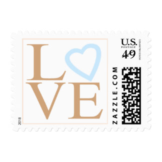 Love Custom Wedding Stamps Camel And Sky Blue