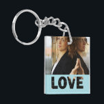 """Love Cut Outs Blue Customized Photo Keychain<br><div class=""""desc"""">Blue color love cut outs square shaped acrylic photo keychain. Double sided photo keychain template, by red_dress, featuring cut out text &quot;Love&quot;, on blue background, and photo holder for two pictures. Easily add a picture to the front and back of two sided keychains or pick the single sided square keychain...</div>"""