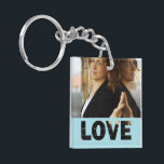 "Love Cut Outs Blue Customized Photo Keychain<br><div class=""desc"">Blue color love cut outs square shaped acrylic photo keychain. Double sided photo keychain template, by red_dress, featuring cut out text &quot;Love&quot;, on blue background, and photo holder for two pictures. Easily add a picture to the front and back of two sided keychains or pick the single sided square keychain...</div>"