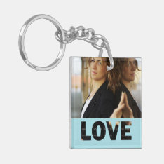 Love Cut Outs Blue Customized Photo Keychain at Zazzle
