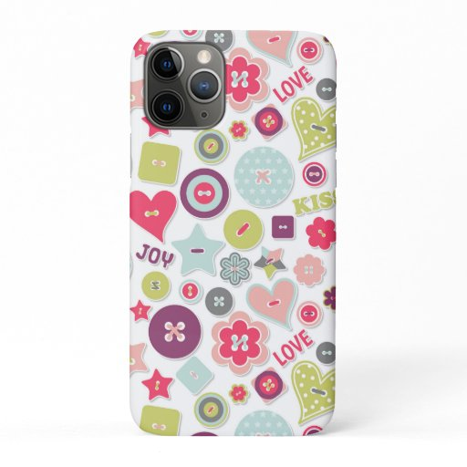 Love Cute Colorful Heart Buttons Romantic Girly iPhone 11 Pro Case