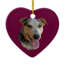 Love Cute Cow Herding Cattle Dogs Western 2-sided Ceramic Ornament