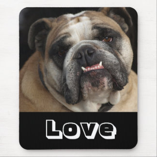 Love Cute English Bulldog Puppy Dog  Mousepad