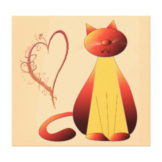 Love Cute Ginger Cat Art Wrapped Canvas Canvas Print