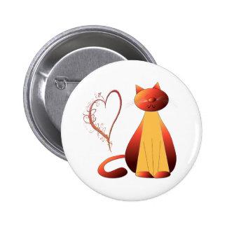 Love Cute Ginger Cat Digital Art Buttons