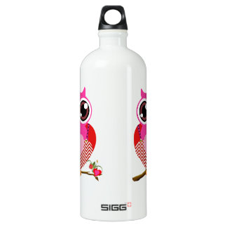 Love Cute Owls & Hearts Aluminum Water Bottle