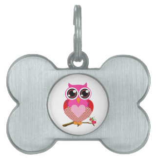Love Cute Owls & Hearts Gifts Pet ID Tag