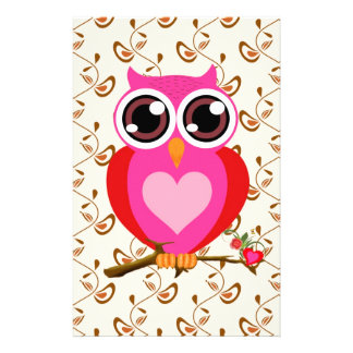 Love Cute Owls & Hearts Gifts Stationery