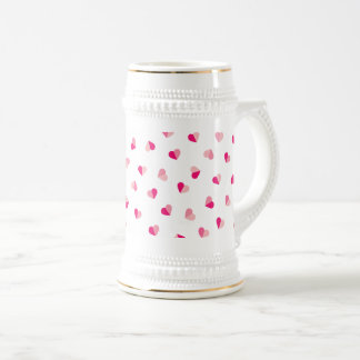 Love Cute Pink Heart Pattern Beer Stein