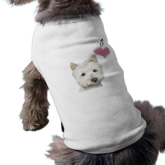 Love Cute Westie Dog Art with 3D Heart Tee