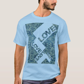 Love Cyanotype Wood Motif T-Shirt
