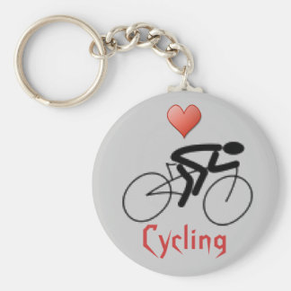 Love Cycling Basic Round Button Keychain