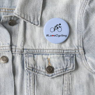 Love cycling caption blue pinback button