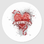 Love Cycling Classic Round Sticker