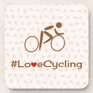 Love cycling pictogram slogan brown drink coasters