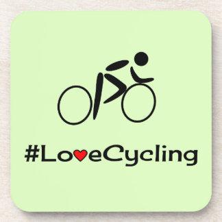 Love cycling slogan choose color beverage coasters