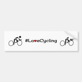 Love cycling slogan white bumper sticker