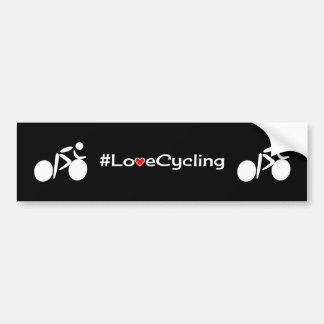 Love cycling slogan white on black bumper sticker