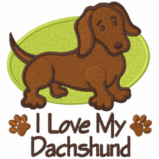 Love Dachshund Embroidered Hoody