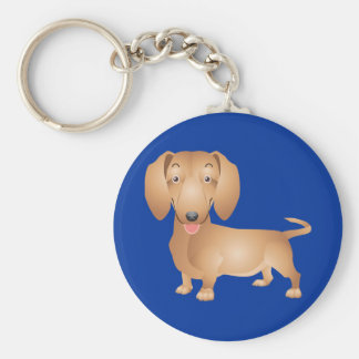 Love Dachshund Puppy Dog Blue Key Chain