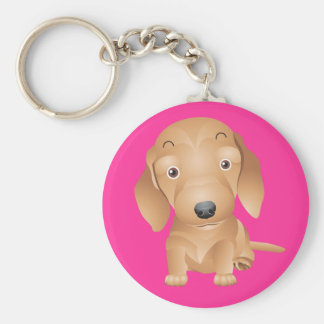 Love Dachshund Puppy Dog Pink Key Chain