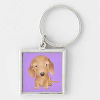 Love Dachshund Puppy Dog Purple Key Chain