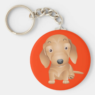 Love Dachshund Puppy Dog Red Key Chain