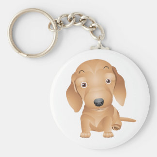 Love Dachshund Puppy Dog White Key Chain