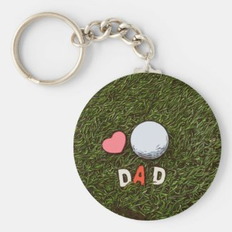 Love dad with golf ball and red heart on green keychain