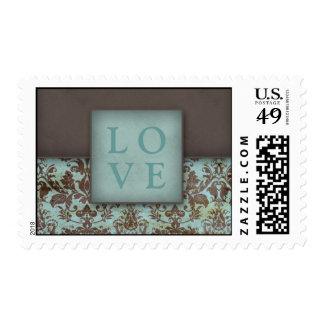 LOVE Damask Postage Stamp