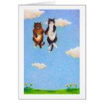 Love dating cat art fun Smitten cute cats floating Card