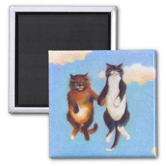 Love dating cat art fun Smitten cute cats floating Refrigerator Magnets