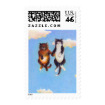 Love dating cat art fun Smitten cute cats floating Stamps