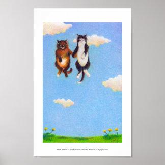 Love dating cat art fun Smitten cute cats floating Poster