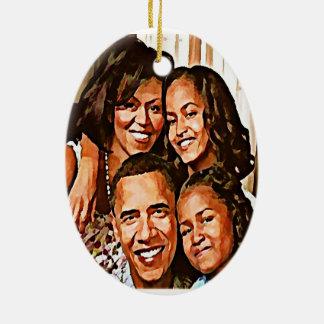 Love_ de Obama Adorno Navideño Ovalado De Cerámica