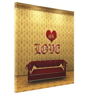Love Deep Red Sofa Gold Vintage Victorian Room Stretched Canvas Print