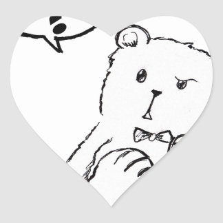 love delicious seriously funny bear anti valentine heart sticker