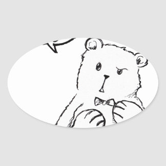 love delicious seriously funny bear anti valentine oval sticker