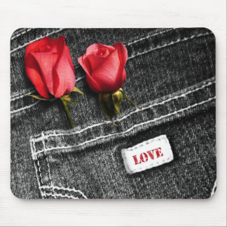 Love. Denim Design Valentine's Day Gift Mousepads