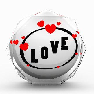 Love design on round badge acrylic award